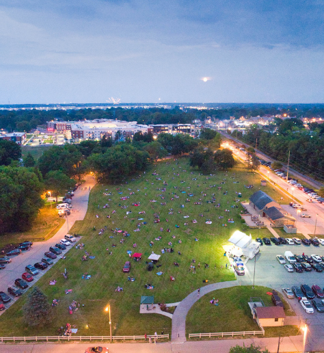 aerial image of Arbuckle Acres Park on July 4